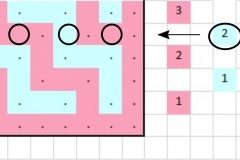 Pattern chart for row 2b with markings