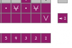 Row 1 with knitting symbols