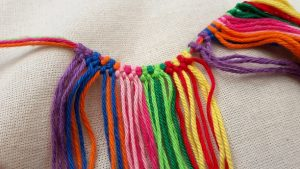 First row knotted, first colorpart