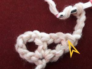 Insert into treble crochet