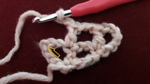 Insert into the 3rd chain stitch